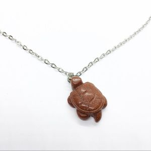 Vtg Carved Goldstone Turtle Pendant Chain Necklace